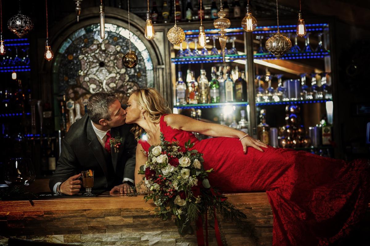 Copy of Bridal Couple on Bar_ Bouquet